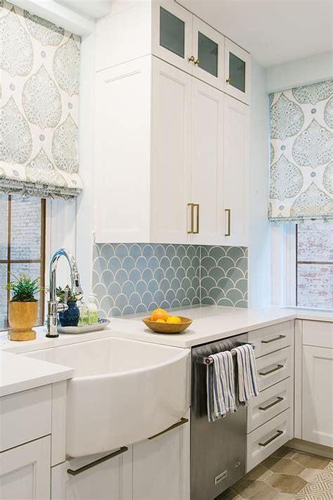 blue fish scale backsplash tiles  walls fitted