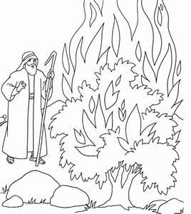 Moses Burning Bush Coloring Page - Coloring Home