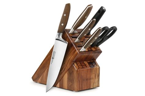wusthof epicure knife set  piece acacia block wusthof knives cutlery