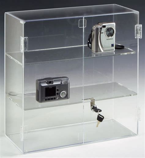 acrylic display case hinged doors  shelves
