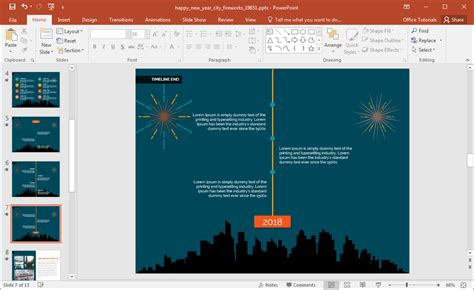 animated happy  year city fireworks powerpoint template