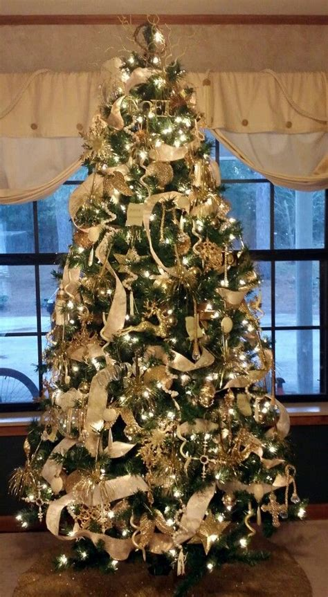 gold with ivory christmas tree christmas pinterest