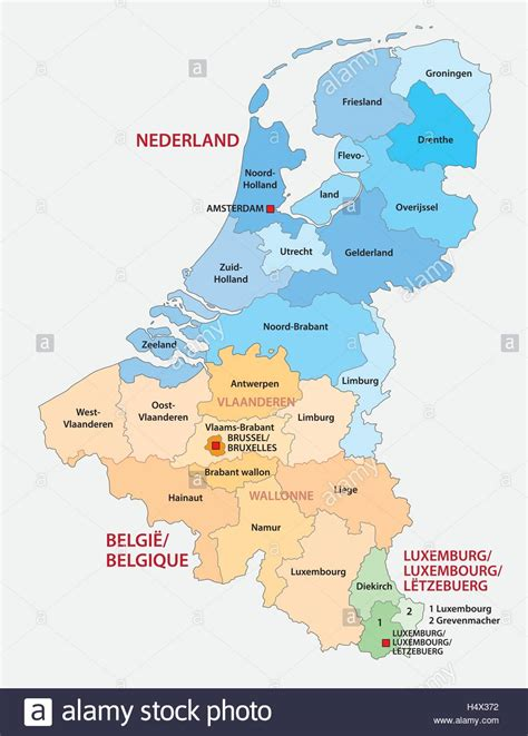 Sind Benelux Staaten by Administrative Map Of The Three Benelux Countries