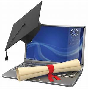 A Laptop For learning with Graduation Cap and Diploma ...