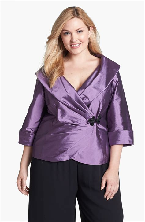 dressy blouses for wedding alex evenings taffeta wrap blouse in purple orchid lyst