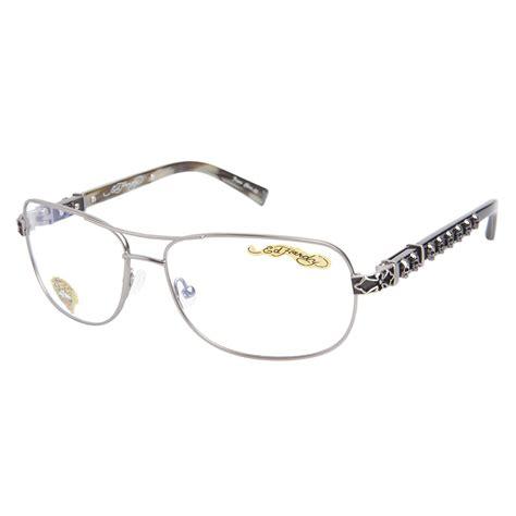 designer mens eyeglasses ed hardy gunmetal eho 722 mens designer eyeglasses