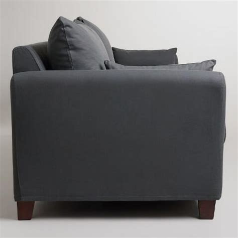 charcoal luxe 3 seat sofa frame and cover world market