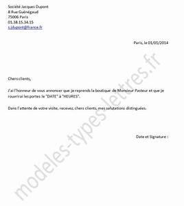 Modèle Changement D Adresse : mod le de lettre concernant la reprise d 39 un commerce ou d 39 une boutique ~ Gottalentnigeria.com Avis de Voitures