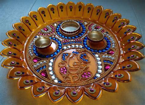 aarti thali pooja room  rangoli designs