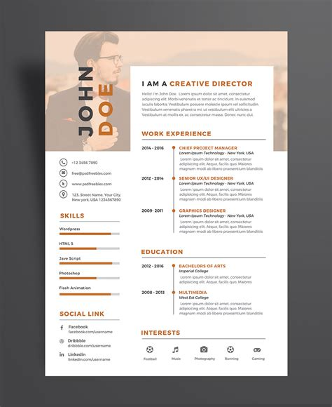 Great Resume Templates Psd by Creative Executive Resume Cv Design Template Psd File Resume