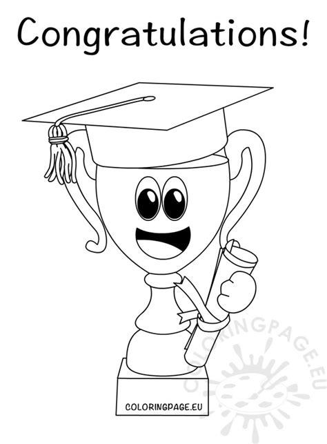 congratulations graduate trophy cup  hat graduation coloring page