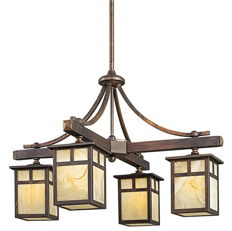 mission style l post lights kichler 49091cv alameda four light outdoor chandelier