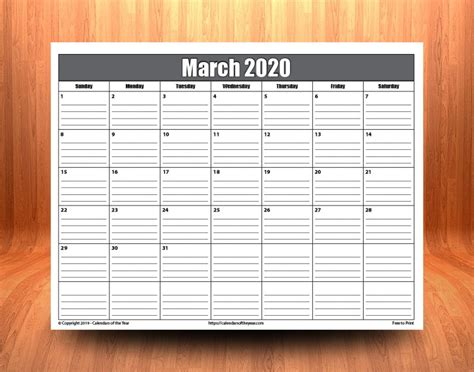 printable march  calendar  lines