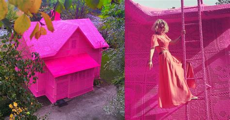 artist olek covers  house  finland  pink crochet