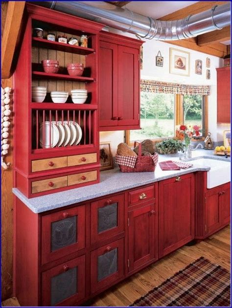 perfect red country kitchen cabinet design ideas  small space cabin ideas pinterest red country kitchens country kitchen cabinets