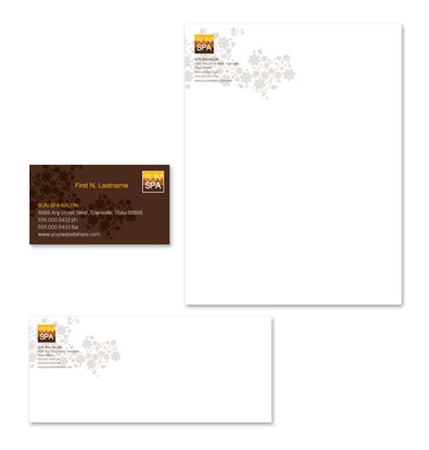 beauty spa salon stationery kits template