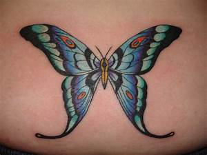 Awesome Colored Ink Butterfly Tattoo On Lowerback