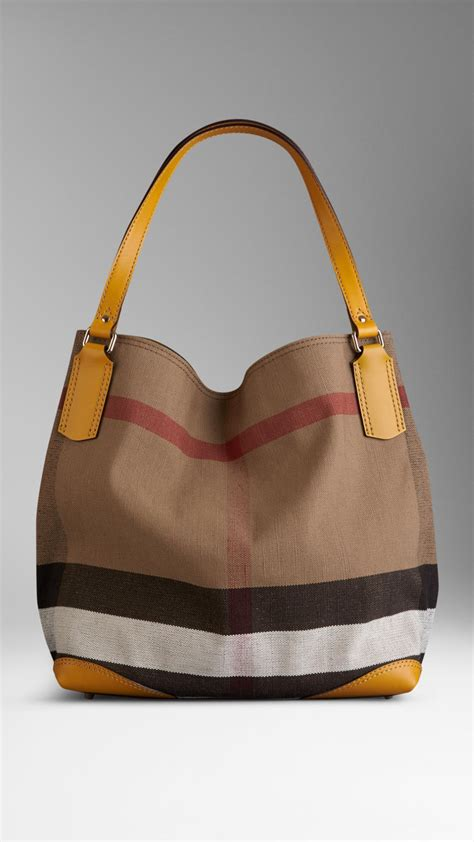 lyst burberry medium canvas check tote bag in yellow