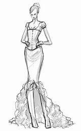 Corset Pages Template Coloring Bustier Sketch Adults Dress sketch template