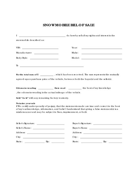 what is a bill of sale form snowmobile bill of sale form sle free download