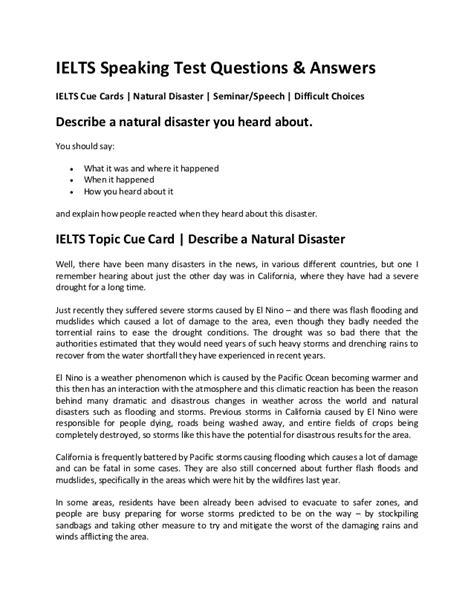 Ielts Cue Cards Natural Disaster Seminar Speech Difficult Choices