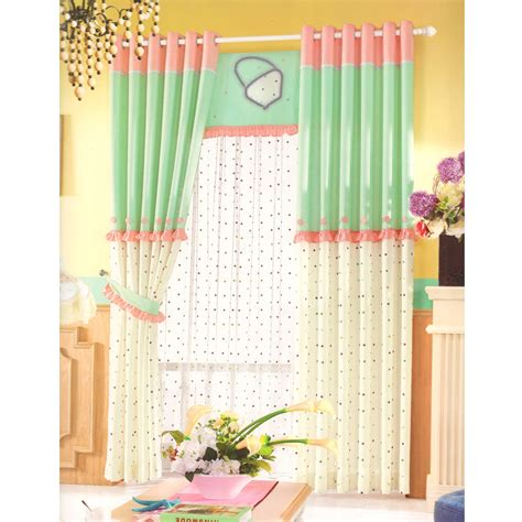 green and pink linen curtains polka dot pattern 2016