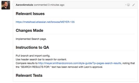 github pull request template code quality metal toad