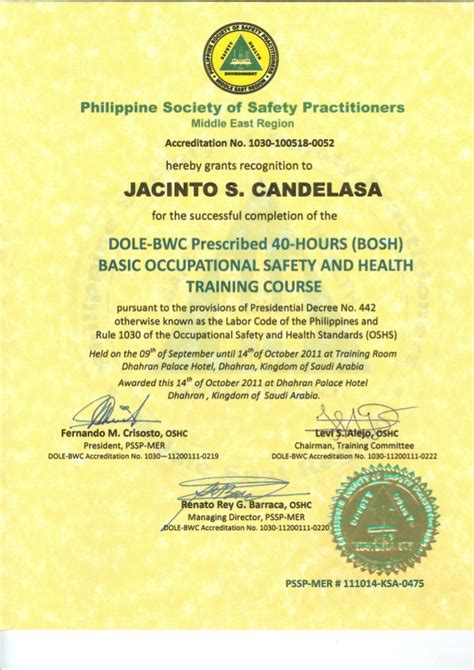 basic occupational safety health  hrs bosh certificate