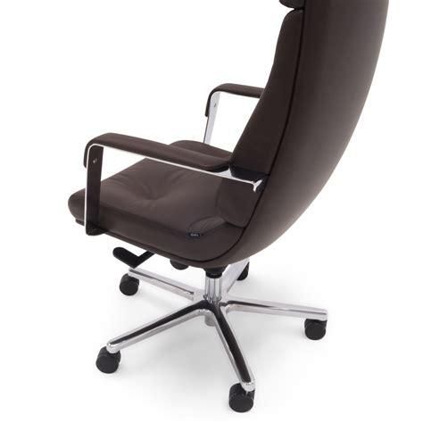 perot genuine leather aluminum base high back executive
