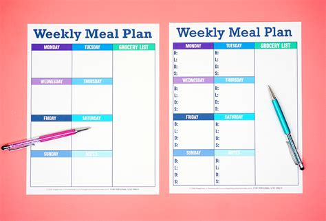 printable weekly meal planner template happiness  homemade