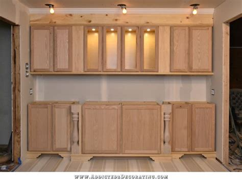 how to make stock cabinets look custom the wall of cabinets build is finished in cabinet lights