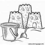 Coloring Sand Castle Bucket Printable sketch template