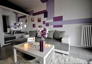 Deco salon gris et violet for Decoration salon mauve et gris