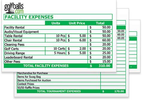 golf tournament budget template  excel sheet