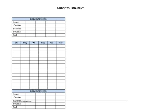 bridge score sheet templates  allbusinesstemplatescom