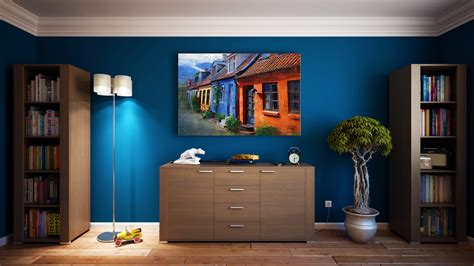 painting for home interior room with painting on the wall image free stock photo