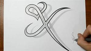 Drawing Letter X Combined with a Heart Design - YouTube