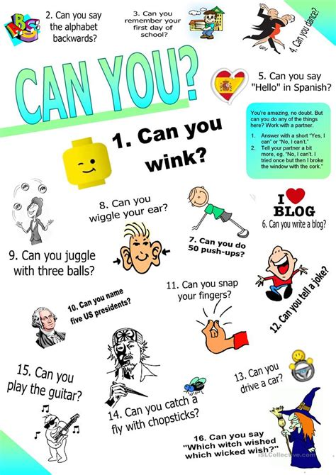 Can You? (ability Questions & Answers Set 2)) Worksheet  Free Esl Printable Worksheets Made