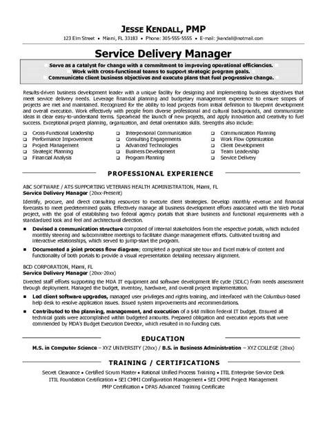 it manager resume sle service delivery manager