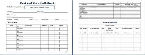 cast  crew call sheet microsoft templates resume