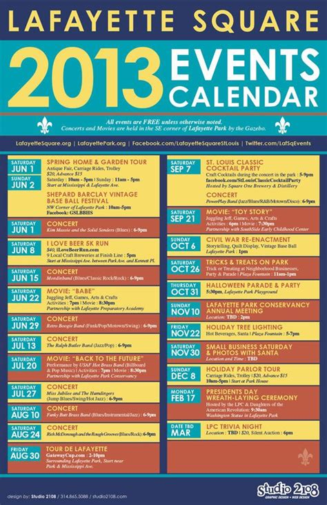 Community Events Calendar Template by Lafayette Square Events Calendar Home Pinterest