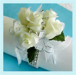 White Rose Wrist Corsage with Rhinestones
