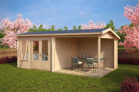 gartenhaus mit überdachter terrasse gartenhaus mit terrasse nora d 9m 178 44mm 3x6 hansagarten24