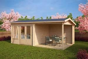 Gartenhaus mit terrasse nora d 9m2 44mm 3x6 for Gartenhaus terrasse