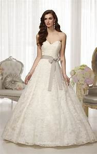 strapless sweetheart neckline elegant lace ball gown With sweetheart neck lace wedding dress