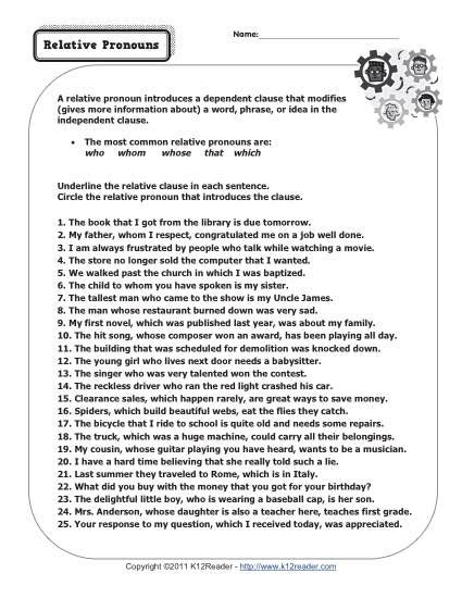 Relative Pronouns  Pronoun Worksheets