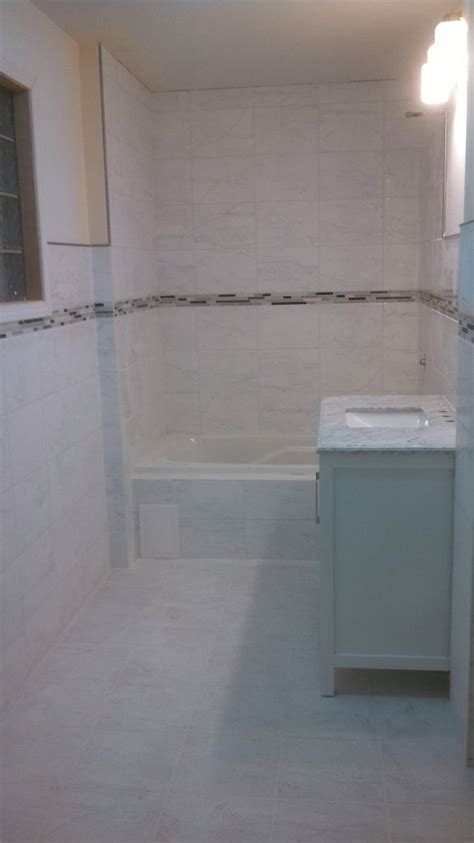 porcelain marble look tile with mosaic