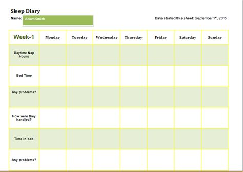child sleep diary template  ms word word excel