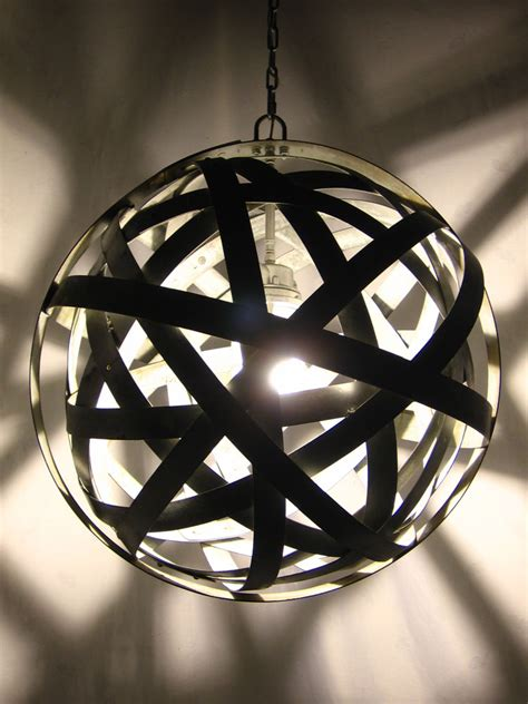 orbits recycled wine barrel metal hoops chandelier