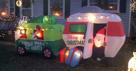 blow  yard art camper trailer rv mh christmas